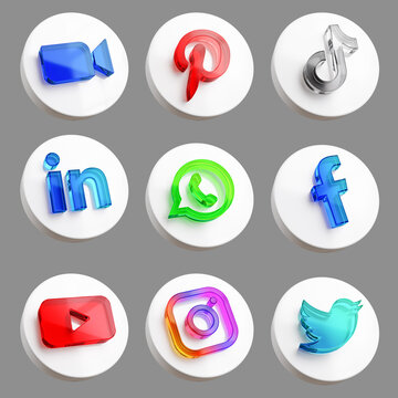 Pack of Most Popular Social Media App Icon Acrylic Glass Icon Isolated Logo 3D Render