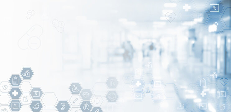 Virtual hospital, telemedicine, medical online, telehealth, healthcare and modern technology concept and medical background