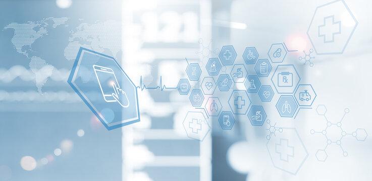 Medical technology background, telemedicine, virtual hospital, online medical concept.