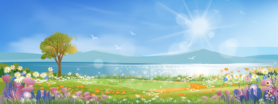 Panoramic of spring village with lake view and mountains with blue sky,Vector cartoon Spring landscape, Panorama countryside in the morning in summer with bright light from sun and reflection on water