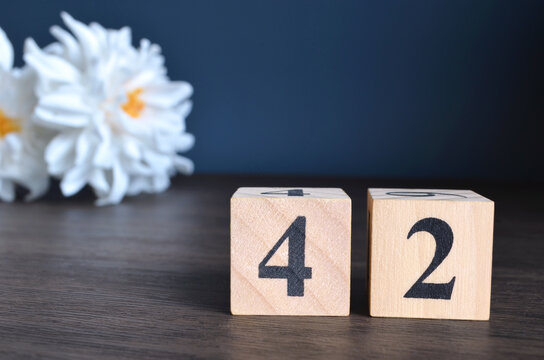 Number 42, rating, award, Empty cover design in natural concept with a number cube and peony flower on wooden table for a background.