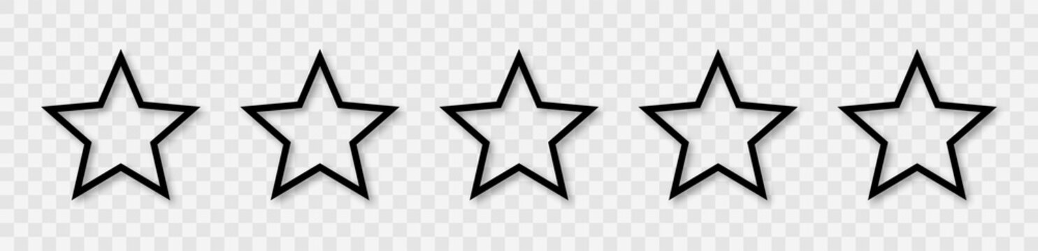 Star icon collection. Blank star vector icons set with shadow. Black line stars mock up isolated on transparent background. Vector design element.
