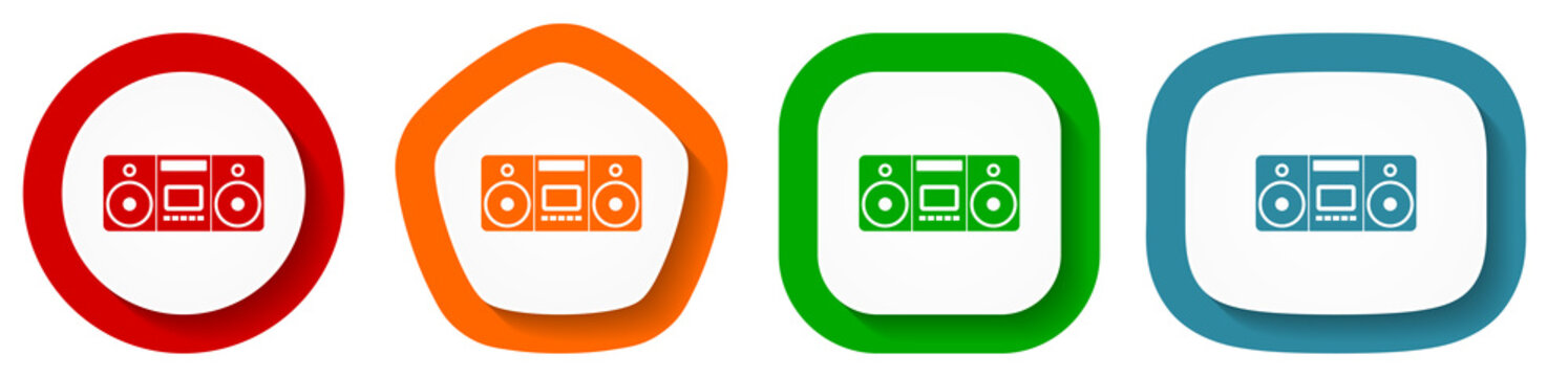 Music, stereo portable equipment vector icon set, flat design buttons on white background for webdesign and mobile applications