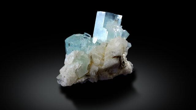 Natural aquamarine crsytal mineral specimen from skardu Pakistan