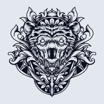 tattoo and t-shirt design black and white hand drawn bear skull engraving ornament