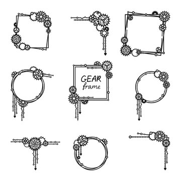 Set of frames and borders with gears, cogwheels and chains. Mechanism. Steampunk. Decorative elements for a stylish holiday greeting card, signage, banner, laser and plotter cutting. Vector template