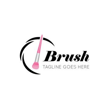 Makeup brush logo and salon icon vector illustration best logo design
