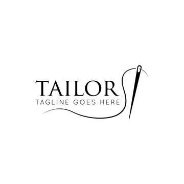 Tailor logo luxury needle and thread icon, sewing silhouette, vector illustration best logo design