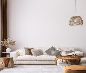 Obraz wall mockup in bright living room design, white sofa in farmhouse boho interior style, 3d render - fototapety do salonu