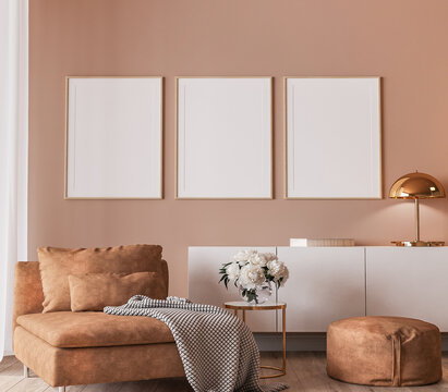 Elegant interior design, modern living room with frame mockup on orange color background, 3d render