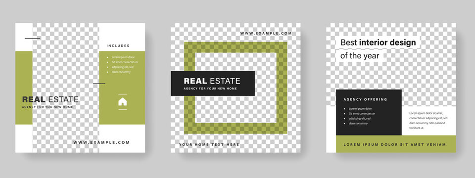 real estate editable social media layouts with green accent, simple and minimal graphic design for digital marketing, business purpose templates