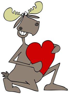 male,romance,holiday,valentines,heart,love,clipart,illustration,cartoon,mammal,wildlife,animal,moose,bull