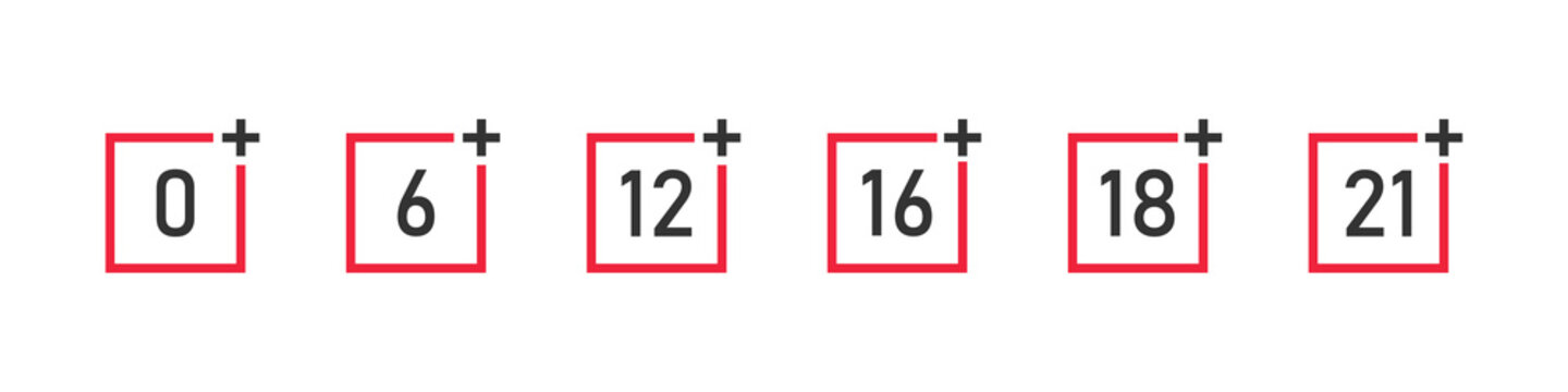 Set of age restriction icons. Age limit. Age restrictions for web design. Adults content icon. Vector illustration