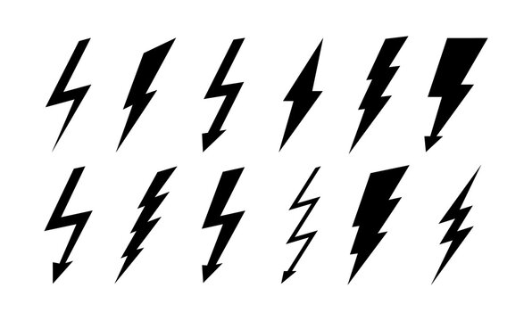Set of thunderbolt and lightning icons. Vector simple icons in flat style. Lightning silhouettes isolated on white background.