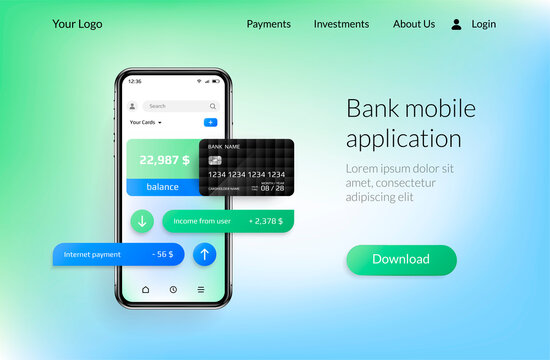 Banking app landing page. Mobile payment and financial account, smartphone UI mockup for online bank application. Vector realistic website interface design with copy space and button for download