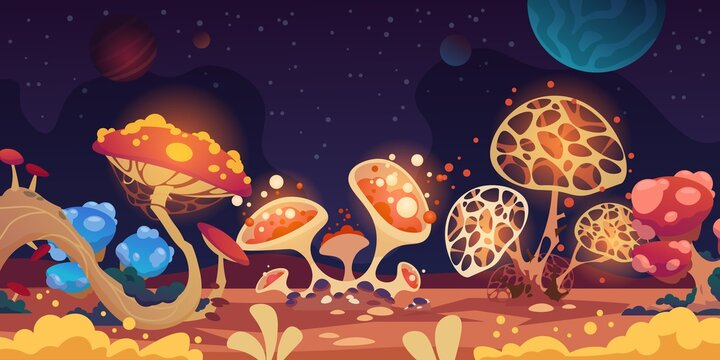 Alien landscape. Fantasy space background with colorful monster mushrooms, magic game flora. Fantastic glowing grebes and dark night sky with planets or stars. Vector scary extraterrestrial scenery