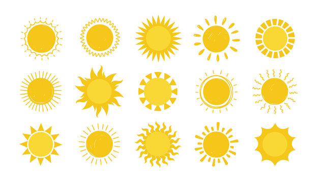 Doodle Sun. Hand drawn simple graphic circle solar elements collection, sunshine round symbols. Yellow silhouette for design and logo, vector sunny weather symbol isolated on white background set