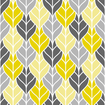 Cute seamless pattern with colorful outline leaves
