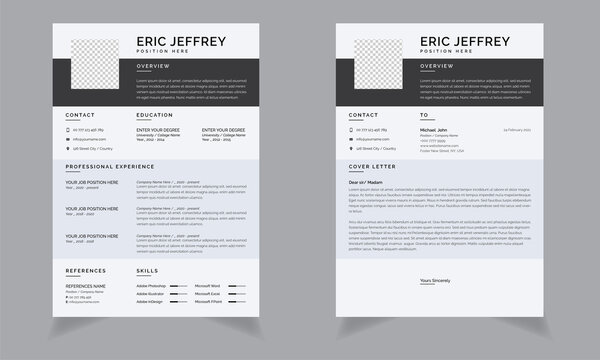 Modern Resume or CV and Cover Letter with Paynes Grey and Blue Solitude Accents