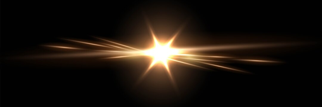 Gold light glow on black horizontal background. Golden bright spark shining vector illustration. Flash of light with ray beams in space. Sunshine sparkles and lines effects