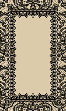 Template of greeting or wedding invitation card with lace frame