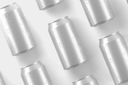 330ml Soda Can White Blank 3D Rendering Mockup