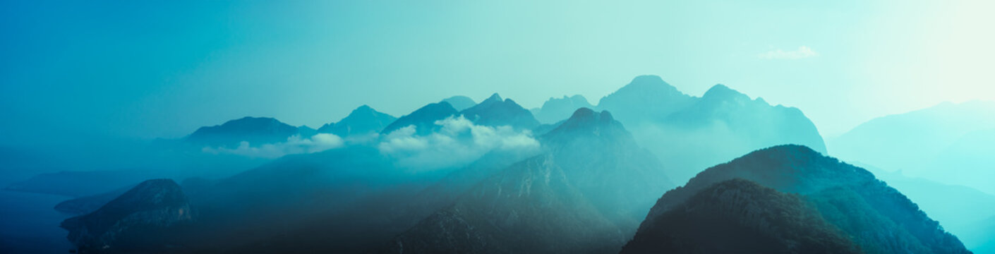 Abstract Mountains Blue Background in Turkey Antalia Panorama