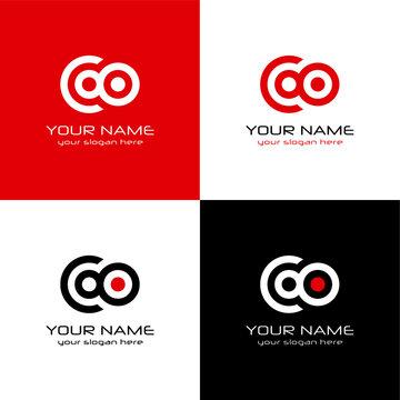 Logo design on black and red background - eps