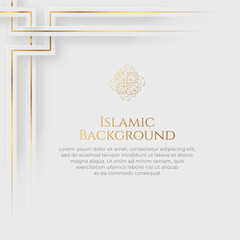 Islamic Arabic Arabesque Ornament Border Luxury Abstract White Background with Copy Space for Text