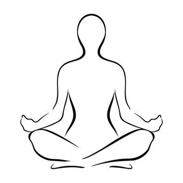 Yoga Sitting Pose Silhouette Vector Illustration