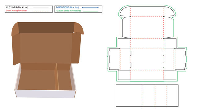 Corrugated mailer box or shipping roll end box with separator dieline template and 3D render file