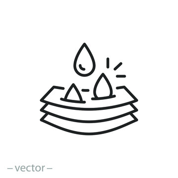 layers soft fabric icon, moisture absorbing, water absorption properties, wicking moist, diaper concept, thin line symbol on a white background, editable stroke vector illustration eps10