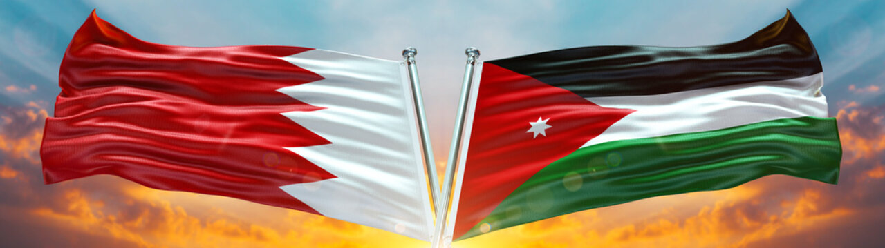 Jordan Flag and Bahrain flag waving with texture sky Cloud and sunset Double flag