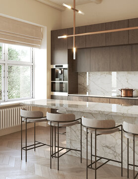 3d rendering of a modern beige kitchen with beige marble backsplash wooden panels, an island and contemporary stools, vertical closeup