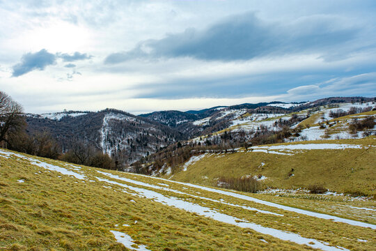 beautiful winter landscapes in the Romanian mountains, Fantanele village area, Sibiu county, Cindrel mountains, Romania