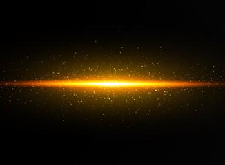 Obraz Shining golden stars isolated on black background. Effects, glare, lines, glitter, explosion, golden light. Vector illustration.Set. - fototapety do salonu
