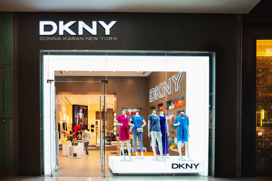 Dubai, UAE - May 30, 2013. Storefront of DKNY shop located in The Dubai Mall. Donna Karan New York brand in Dubai, United Arab Emirates.