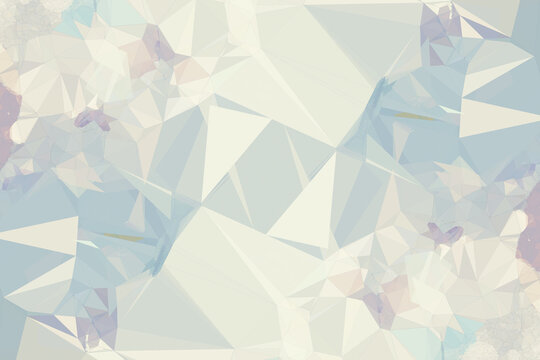 Abstract illustration of blue and grey geometrical polygonal abstract shapes against white backgroun