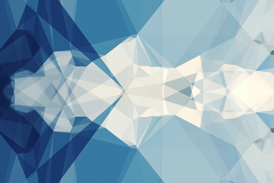 Abstract illustration of blue and white geometrical polygonal abstract shapes against blue backgroun