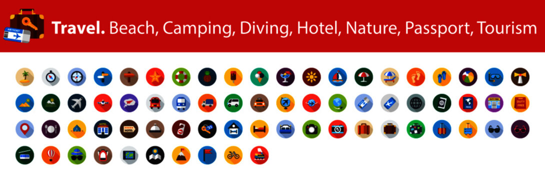 Travel flat icons set. Beach, camping, diving, hotel, nature, passport, tourism vector illustration.
