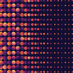 Digitally generated seamless pattern with multicolored neon dots against black background