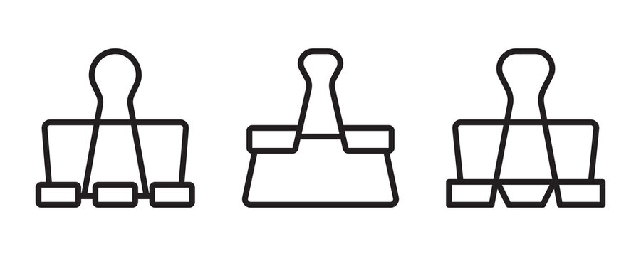 Binder clip icon set. Vector graphic illustration. Suitable for website design, logo, app, template, and ui.