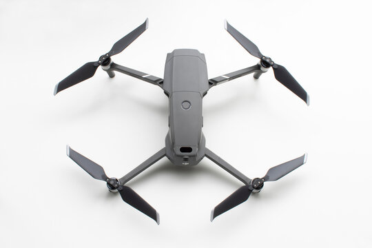 Portland, OR, USA - Feb 13, 2021: Top view of a new DJI Mavic Pro 2 flagship consumer drone isolated on white. Shenzhen DJI Sciences and Technologies Ltd. is a Chinese technology company.