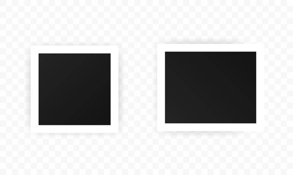 Photo Frames icon set, realistic square black frames mockup, vector set.Template for picture, painting, poster, lettering or photo gallery. Vector EPS 10. Isolated on transparent background