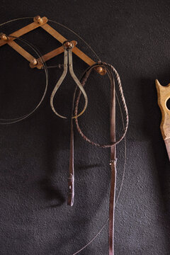 Work tools hanging on wall