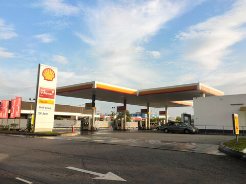 SELANGOR, MALAYSIA -MARCH 05, 2020: Shell petrol station and fuel pump dispenser. Shell provided self-service dispenser with a self-service payment method to avoid human interaction.