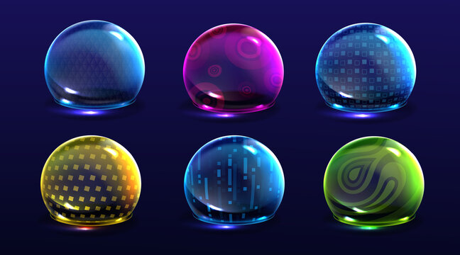 Force shield bubbles, various energy glow spheres