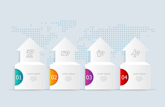 abstract horizontal timeline infographics 4 steps with world map for business and presentation