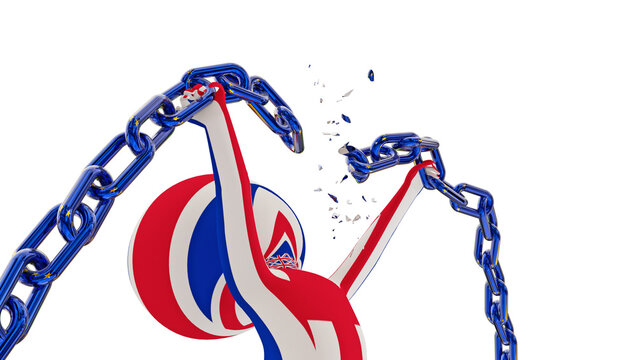 brexit man breaking european chain commercial agreement next day after seperation  freedom - 3d rendering