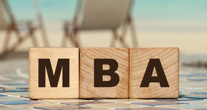 MBA on wood cubes. Master of Business Administration concept. Education overseas